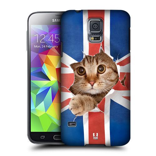 HEAD CASE obal na mobil Samsung Galaxy S5 vzor srandovní zvířátka kočička anglická vlajka