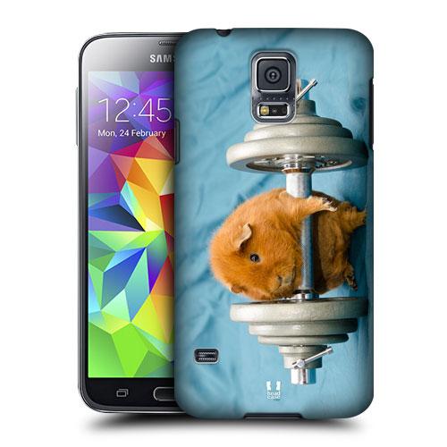 HEAD CASE obal na mobil Samsung Galaxy S5 vzor srandovní zvířátka křeček kulturista modré pozadí