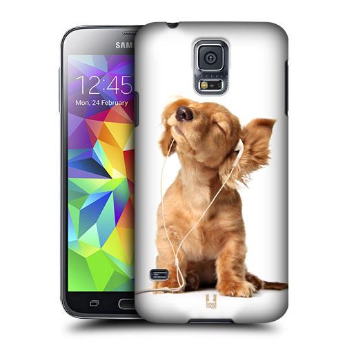 HEAD CASE obal na mobil Samsung Galaxy S5 vzor srandovní zvířátka šteňátko a sluchátka bílá