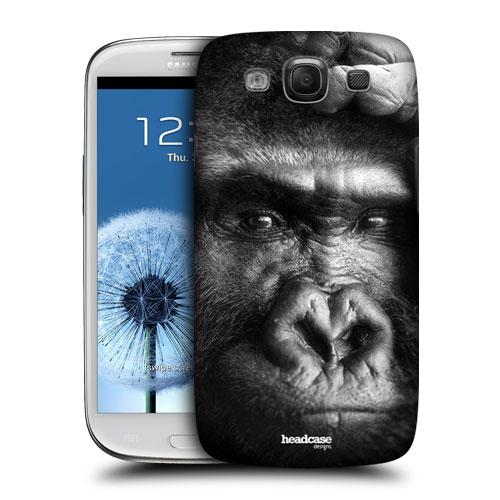 HEAD CASE pouzdro na mobil Samsung galaxy S3 i9300 příroda zvířata gorila černobílá barva