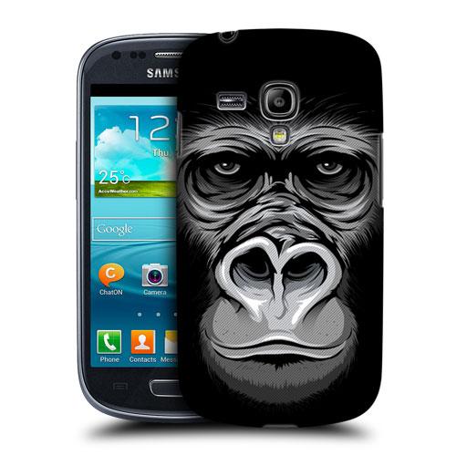 HEAD CASE pouzdro na mobil Samsung galaxy S3 MINI velká tvář zvíře Gorila černá a bílá