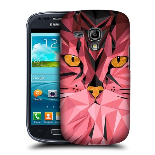 HEAD CASE pouzdro na mobil Samsung galaxy S3 MINI geometrické zvíře růžová kočka