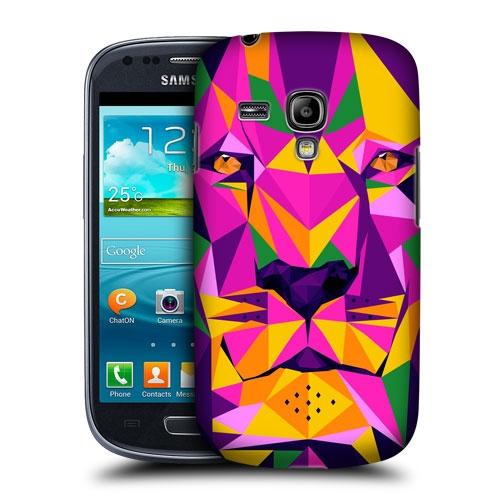 HEAD CASE pouzdro na mobil Samsung galaxy S3 MINI geometrické zvíře růžová fialová Lev