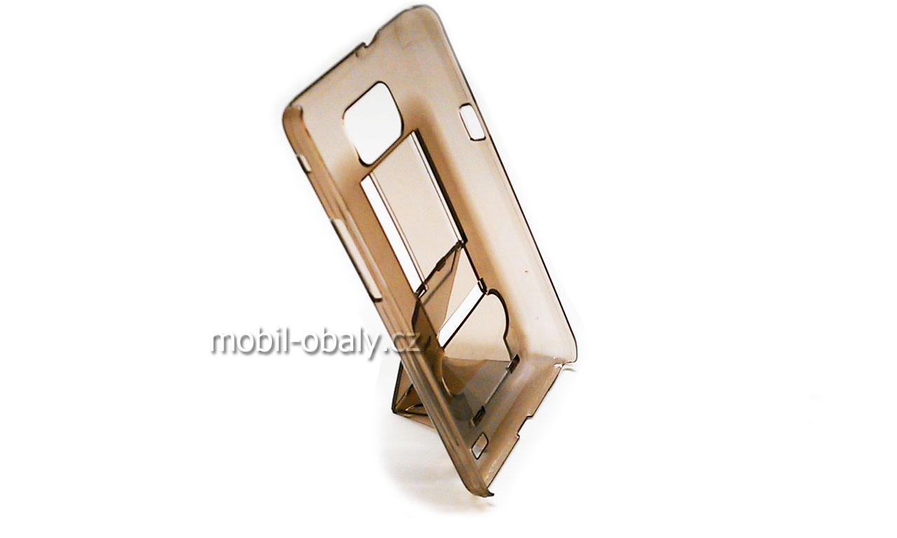 Obal Faceplate pevný na mob Samsung i9100 Galaxy S2 Hnědý průhledný se stojánkem