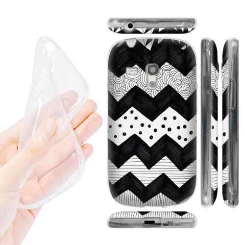 HEAD CASE silikonové Pouzdro na mobil Samsung galaxy S3 MINI vzor černá a bílá zoubky
