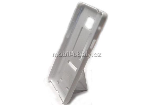 Obal Faceplate na mobil Samsung i9100 Galaxy S2 pevný plast bílý stojánek