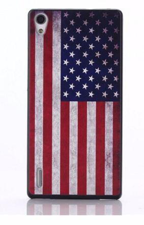 Plastový obal na mobil Huawei Ascend P7 Americká vlajka VINTAGE