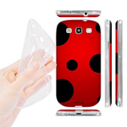 HEAD CASE silikonový obal na mobil Galaxy S3 i9300 beruška červená a černá tečky