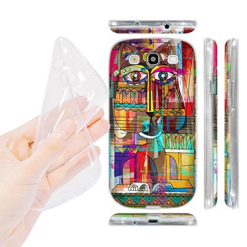 HEAD CASE silikonový obal na mobil Galaxy S3 i9300 barevná kočka abstraktní vzor velké oči