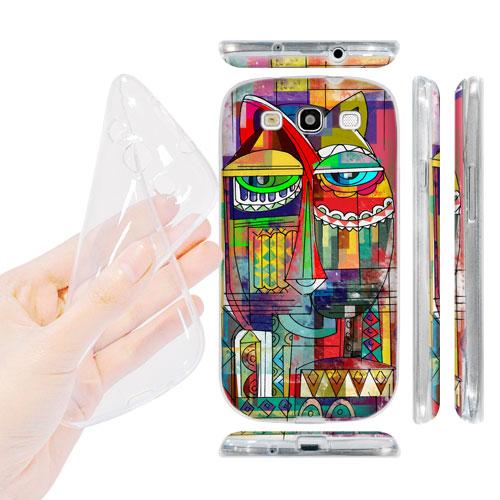 HEAD CASE silikonový obal na mobil Galaxy S3 i9300 barevná kočka abstraktní vzor kocour