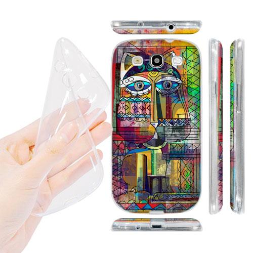 HEAD CASE silikonový obal na mobil Galaxy S3 i9300 barevná kočka abstraktní vzor Koukalka