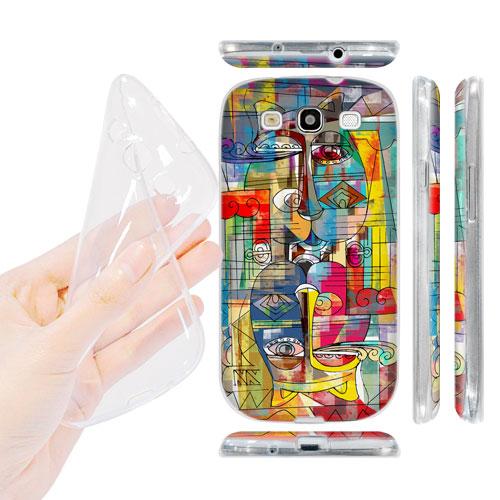 HEAD CASE silikonový obal na mobil Galaxy S3 i9300 barevná kočka abstraktní vzor zrcadlo