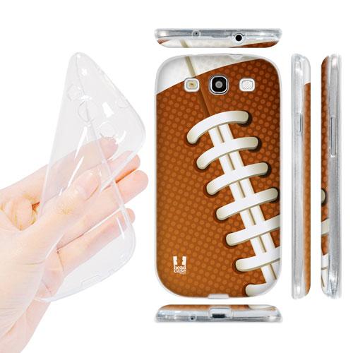HEAD CASE silikonový obal na mobil Galaxy S3 i9300 americký fotbal míč hnědá barva