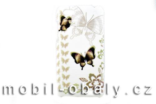Pouzdro Faceplate na mobil HTC one V motýl bílý hnědý plast
