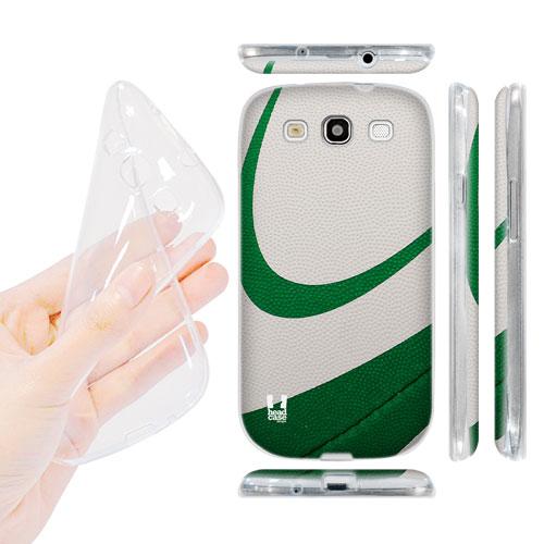 HEAD CASE silikonový obal na mobil Galaxy S3 i9300 rugby míč zelená a bílá barva