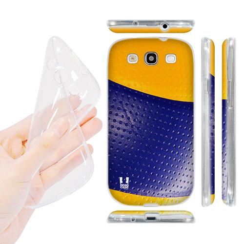 HEAD CASE silikonový obal na mobil Galaxy S3 i9300 volejbal žlutá a modrá barva imitace
