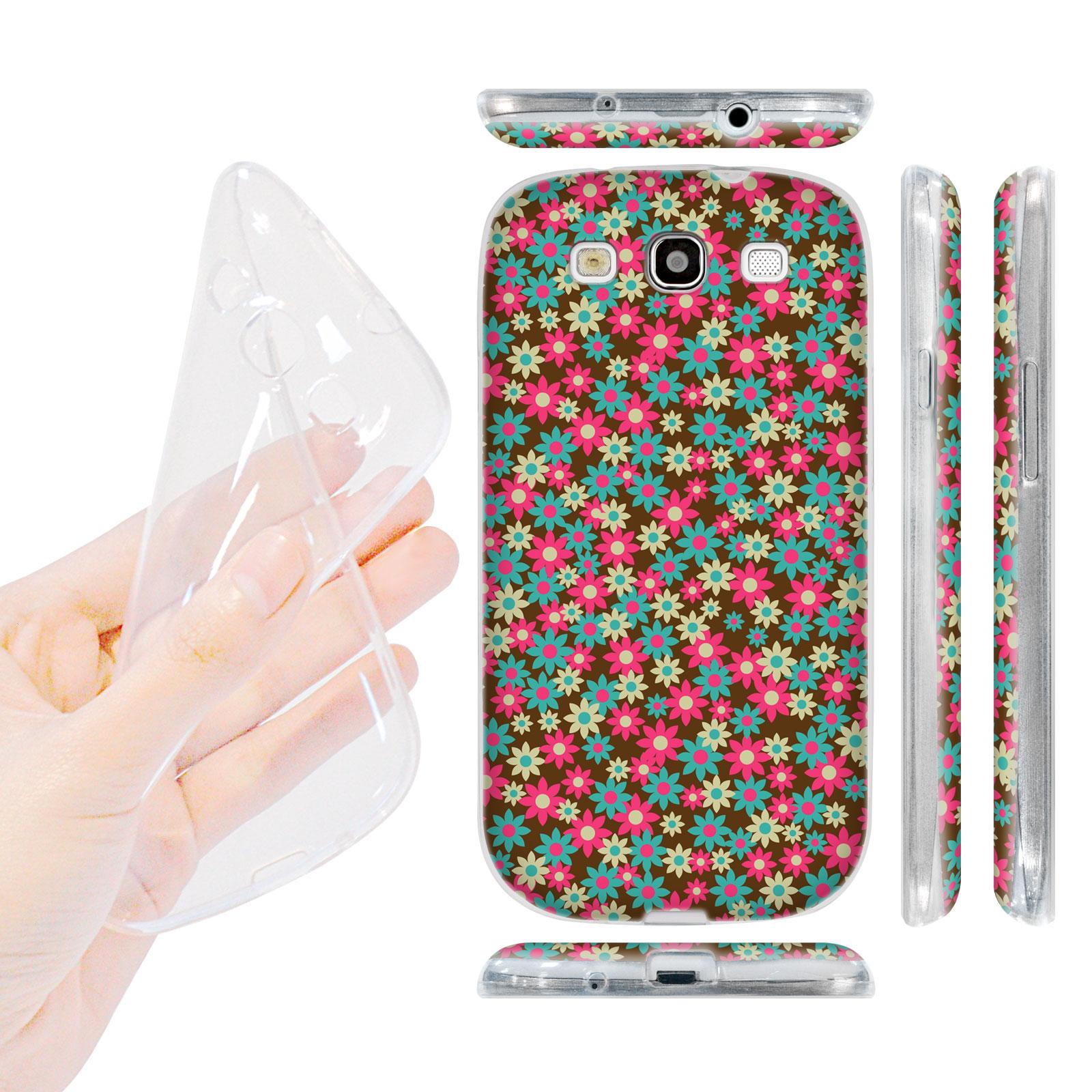 HEAD CASE silikonový obal na mobil Galaxy S3 i9300 malé květinky hnědá a růžová barva