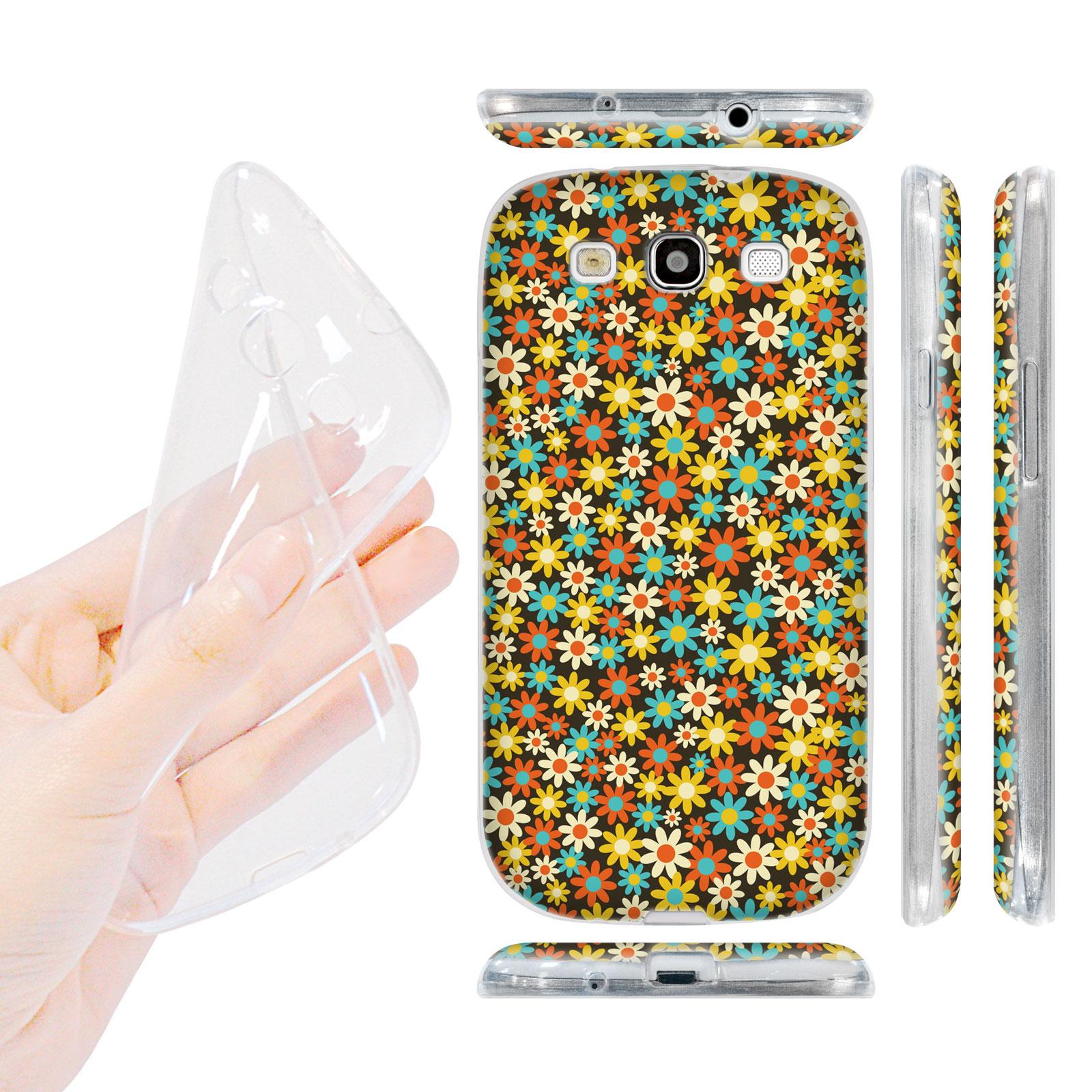 HEAD CASE silikonový obal na mobil Galaxy S3 i9300 malé květinky žlutá oranžová barva