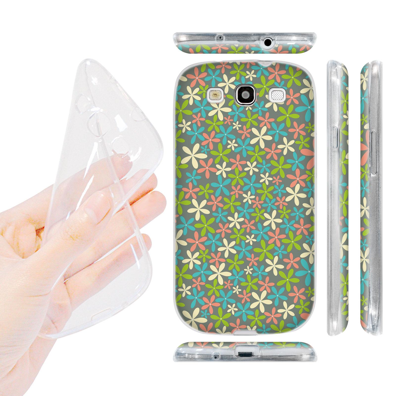 HEAD CASE silikonový obal na mobil Galaxy S3 i9300 malé květinky tyrkysová modrá barva