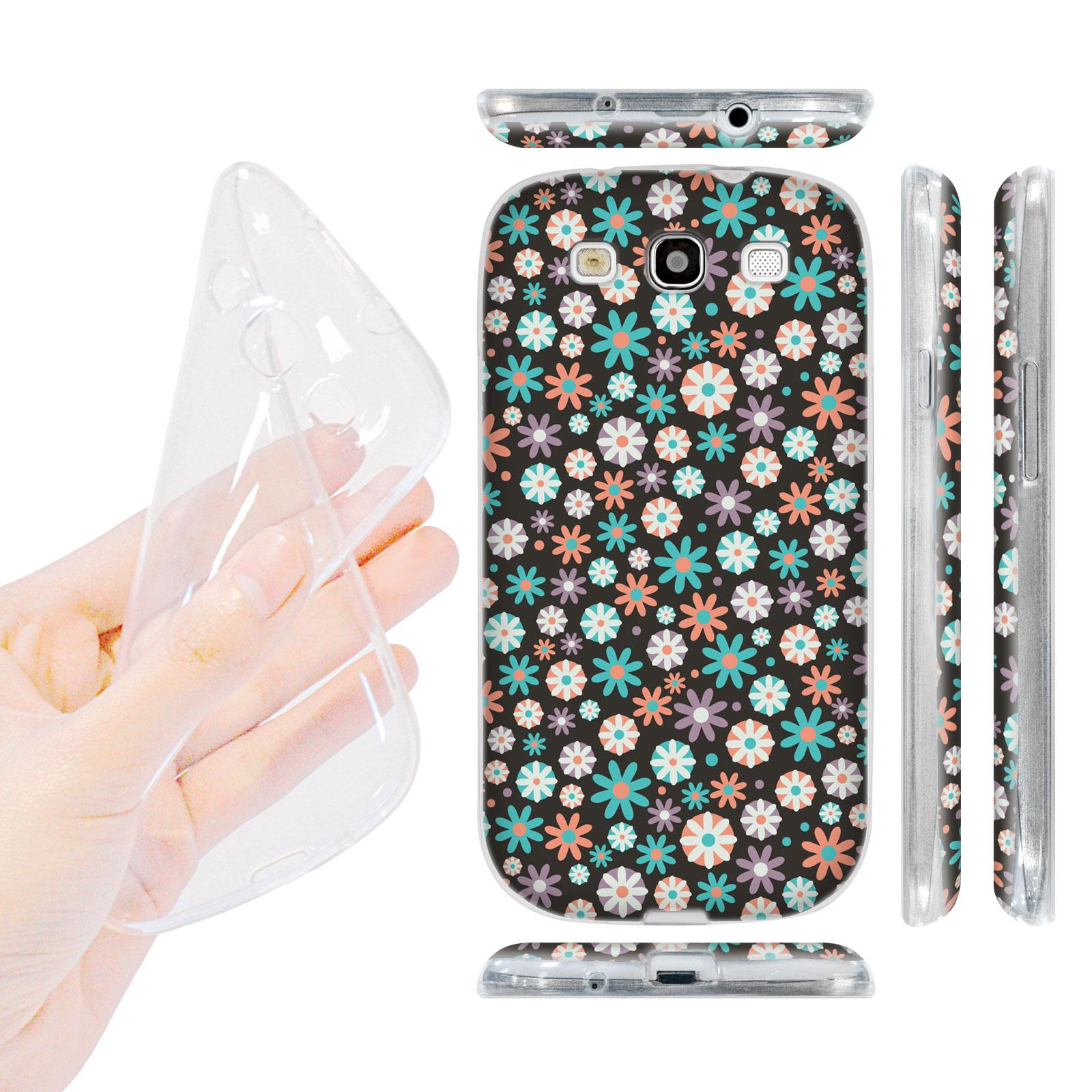 HEAD CASE silikonový obal na mobil Galaxy S3 i9300 malé květinky černá fialová růžová