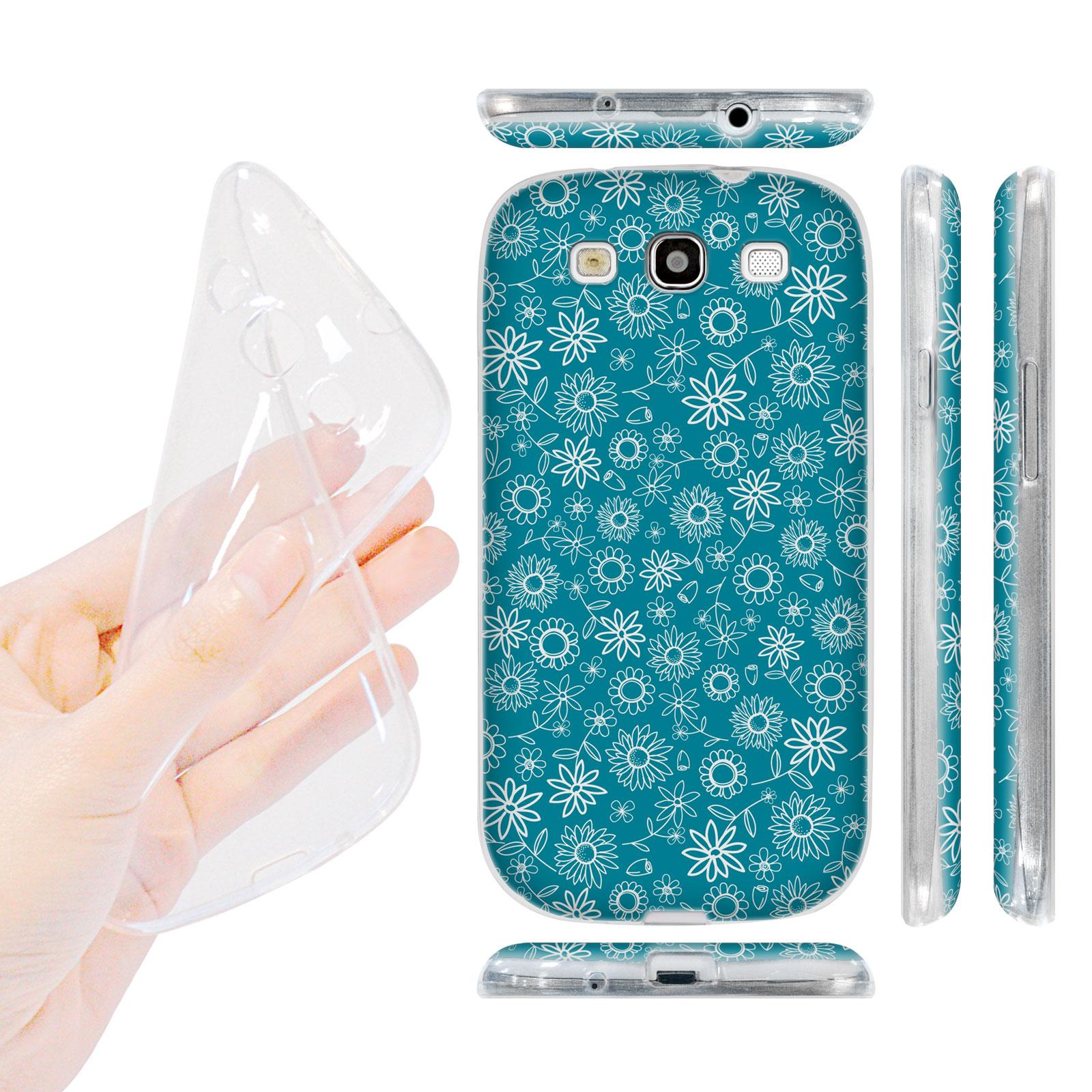 HEAD CASE silikonový obal na mobil Galaxy S3 i9300 malé květinky modrá barva
