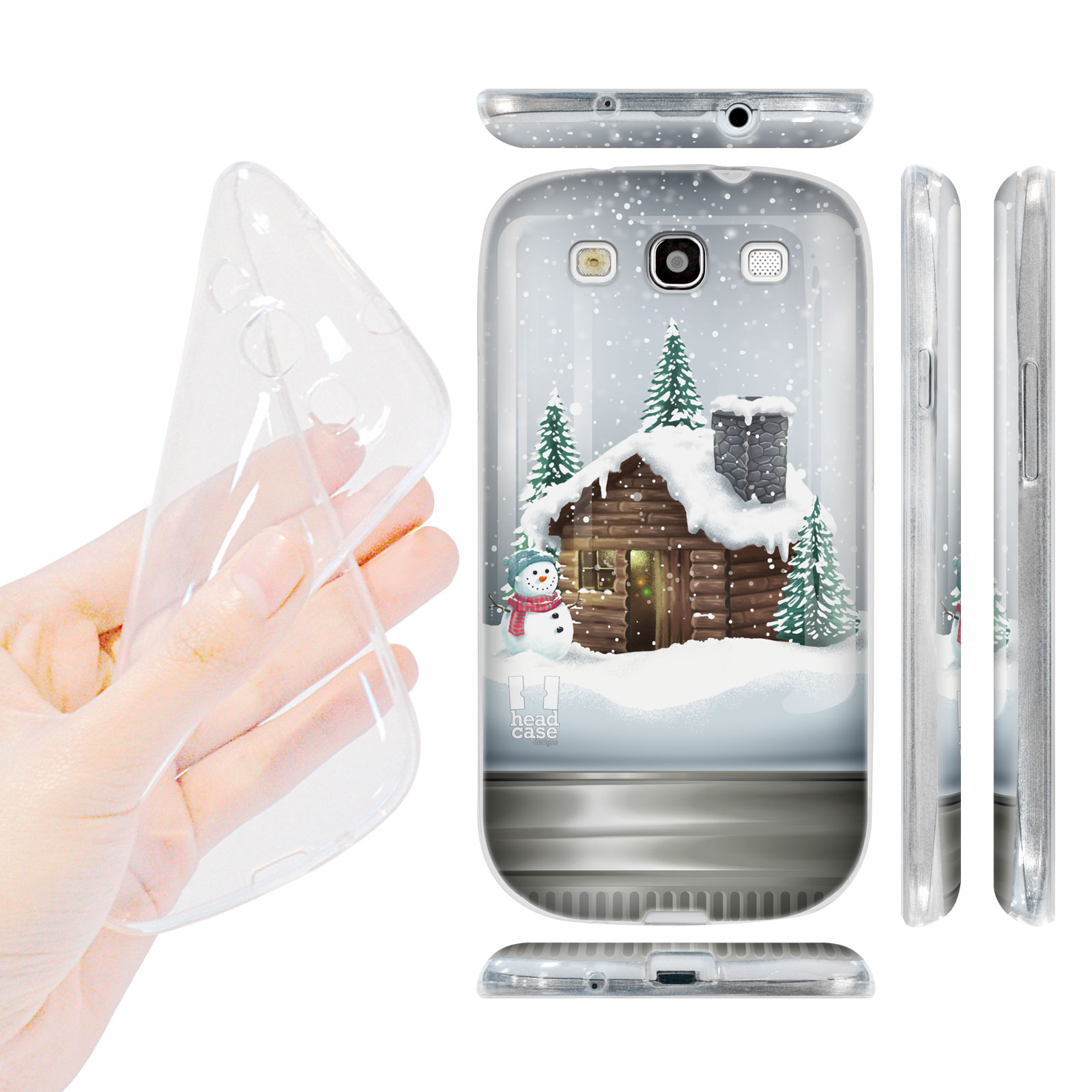 HEAD CASE silikonový obal na mobil Galaxy S3 i9300 Vánoce skleněná koule srub