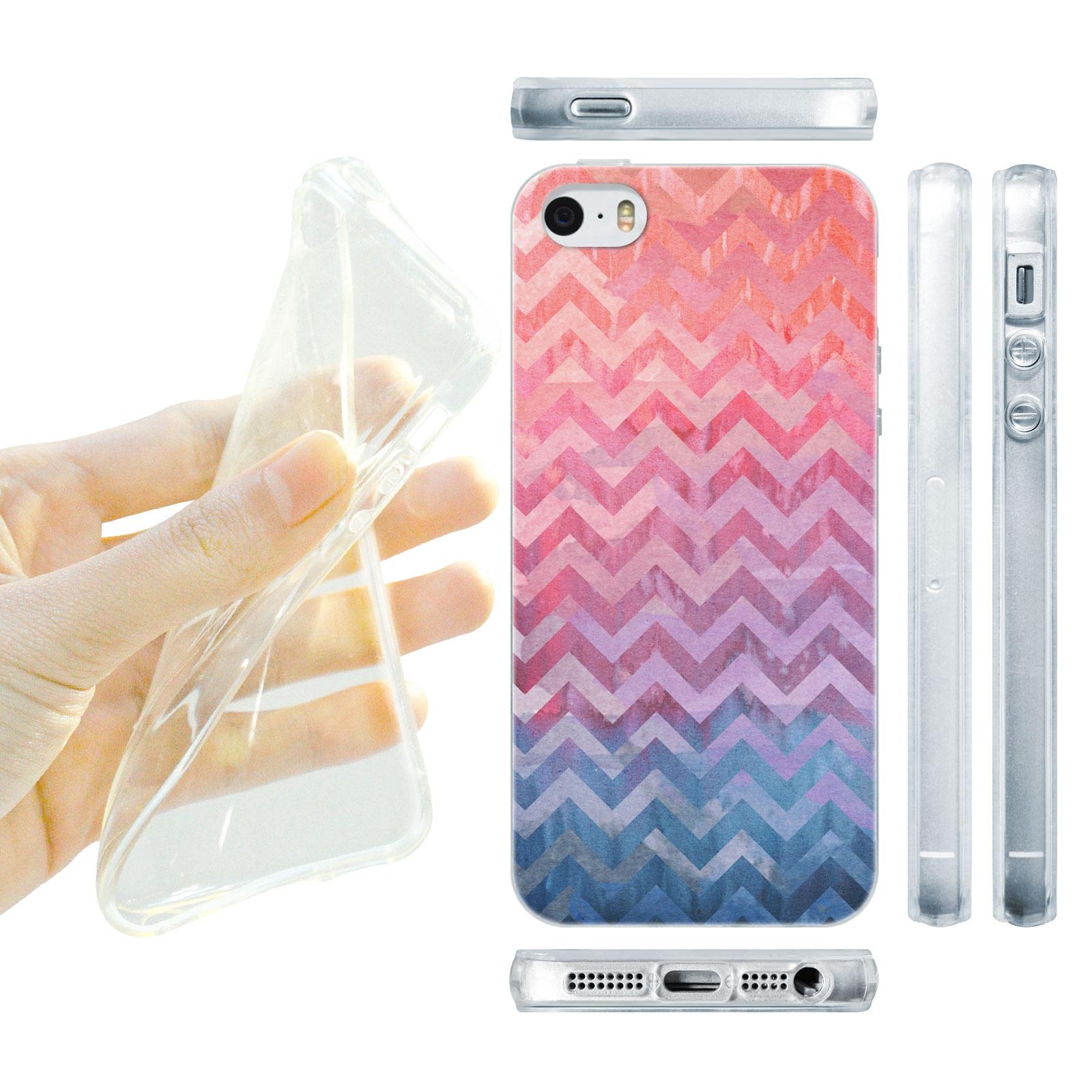 HEAD CASE silikonový obal na mobil Iphone 5/5S proužky růžová a modrá