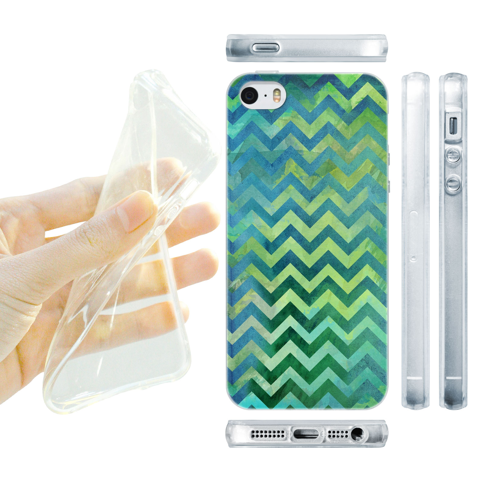 HEAD CASE silikonový obal na mobil Iphone 5/5S proužky zelená barva