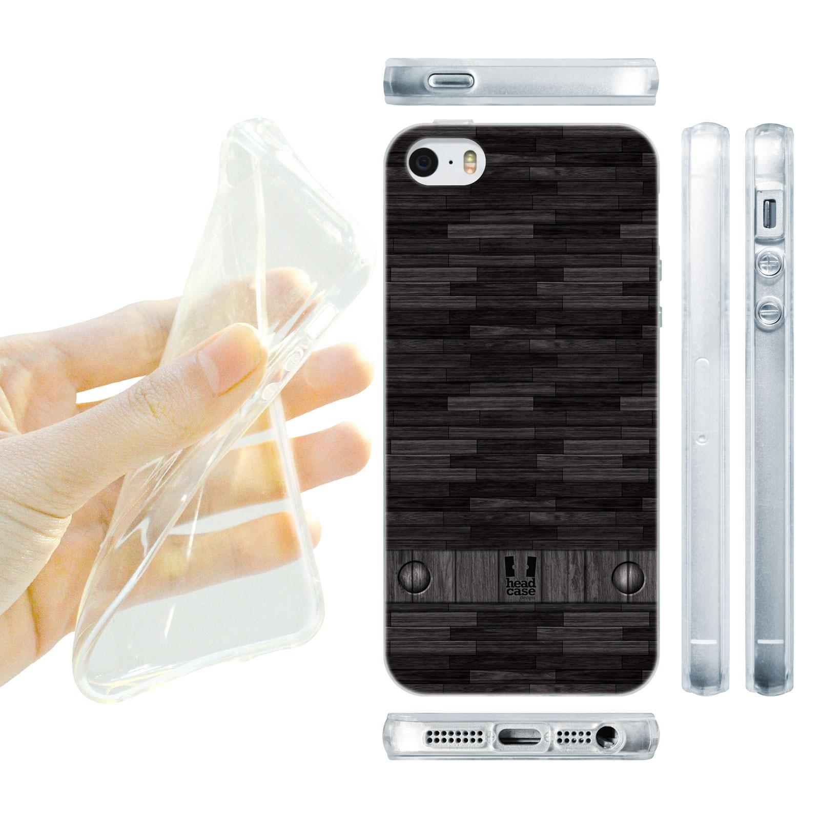 HEAD CASE silikonový obal na mobil Iphone 5/5S imitace dřevo černá barva