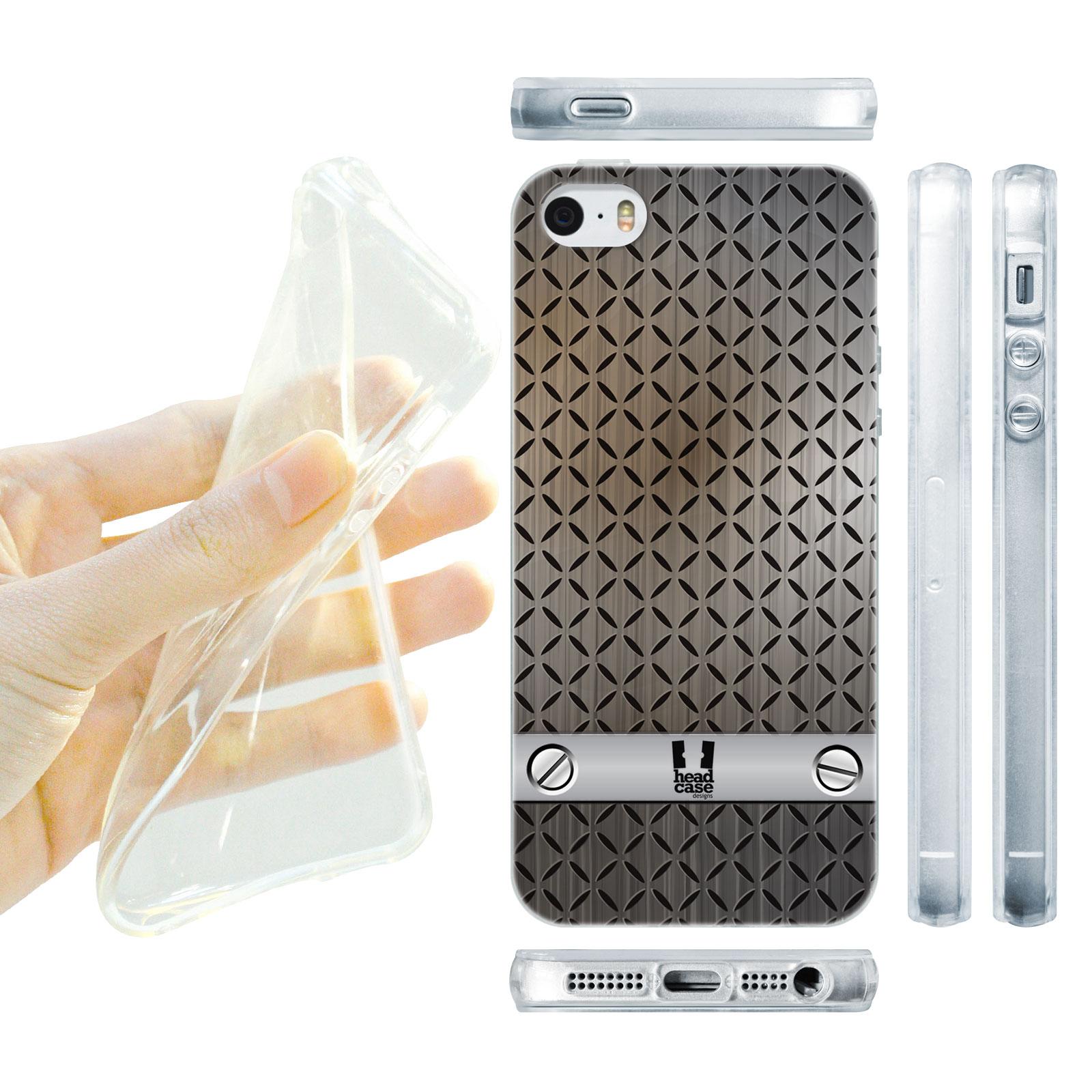 HEAD CASE silikonový obal na mobil Iphone 5/5S imitace železo šedá barva