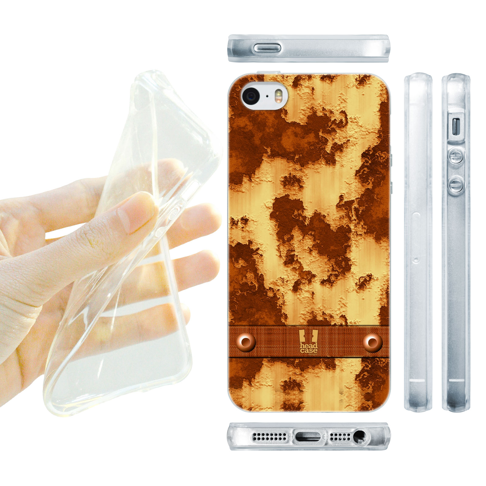 HEAD CASE silikonový obal na mobil Iphone 5/5S imitace železo rezavé hnědá barva