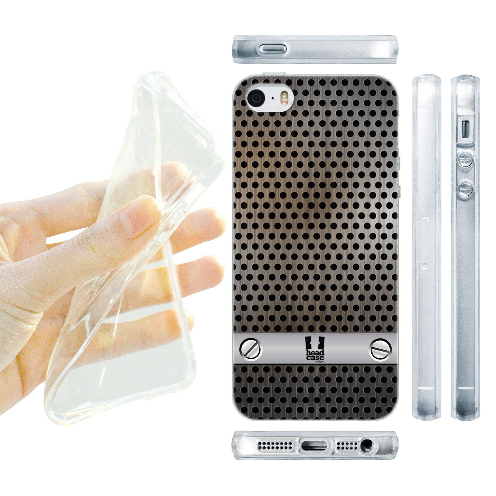 HEAD CASE silikonový obal na mobil Iphone 5/5S imitace železo šedá barva vzorek
