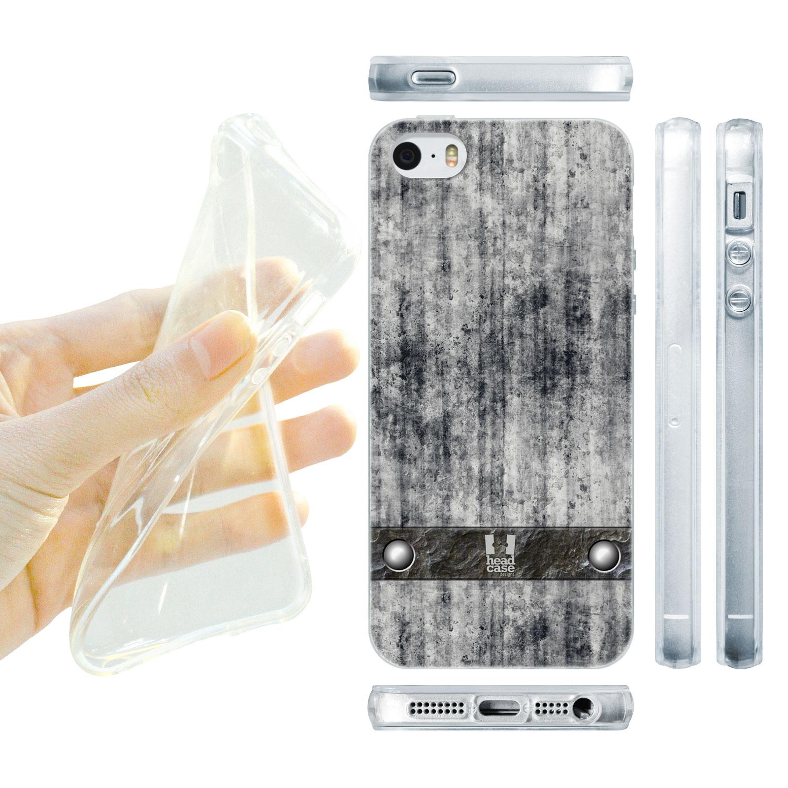 HEAD CASE silikonový obal na mobil Iphone 5/5S imitace beton šedá barva