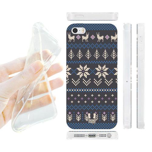 HEAD CASE silikonový obal na mobil Iphone 5/5S modrá a šedá vánoce zima