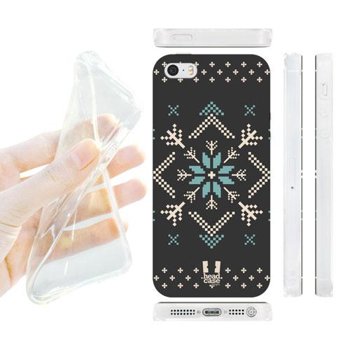 HEAD CASE silikonový obal na mobil Iphone 5/5S modrá a šedá hvězda vánoce