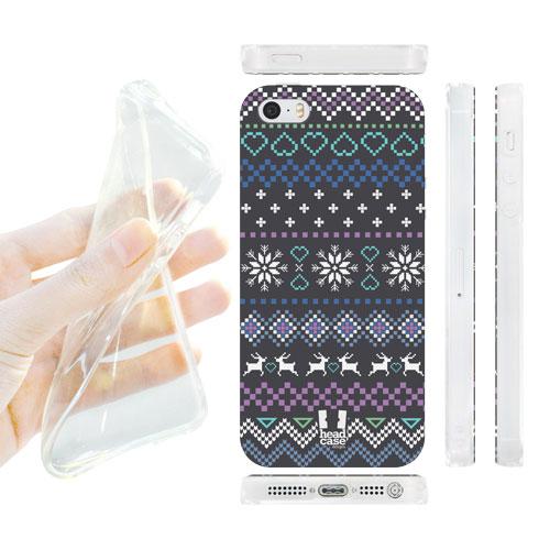 HEAD CASE silikonový obal na mobil Iphone 5/5S modrá a šedá vločky vánoční