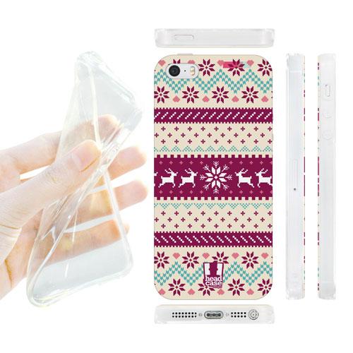 HEAD CASE silikonový obal na mobil Iphone 5/5S fialová a bílá sob