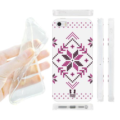 HEAD CASE silikonový obal na mobil Iphone 5/5S vánoce zima bílá a fialová vločka
