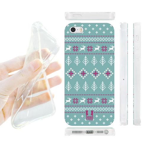 HEAD CASE silikonový obal na mobil Iphone 5/5S tyrkysově modrá fialová stromečky