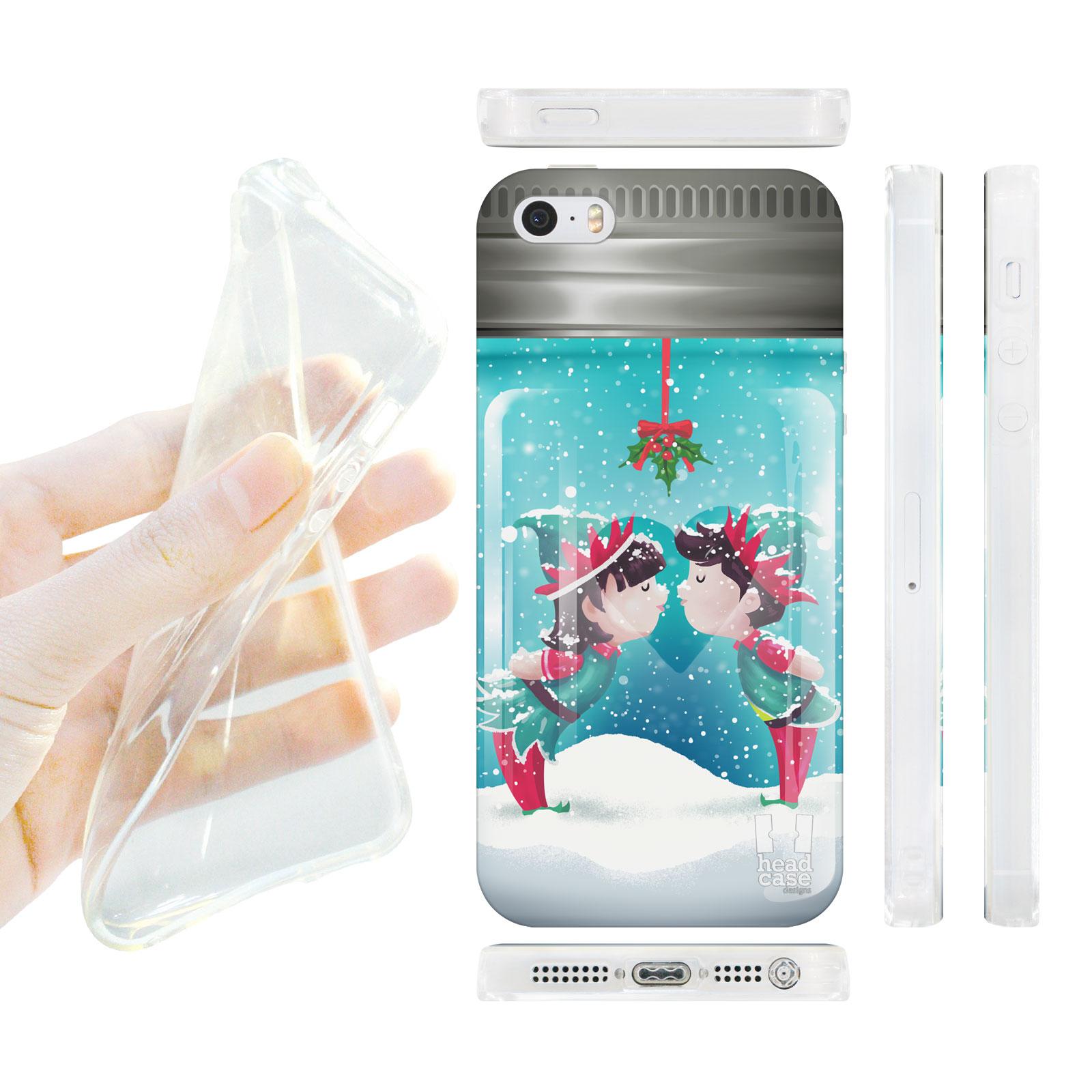 HEAD CASE silikonový obal na mobil Iphone 5/5S skleněná koule polibek pod jmelím modrá