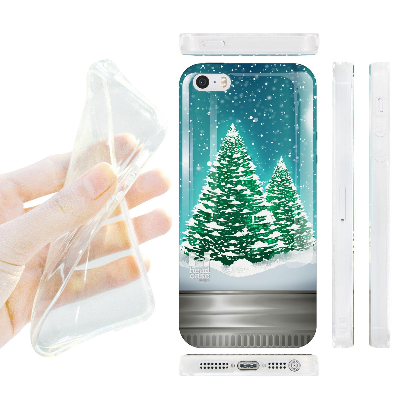 HEAD CASE silikonový obal na mobil Iphone 5/5S vánoční stromeček sníh zelená a modrá