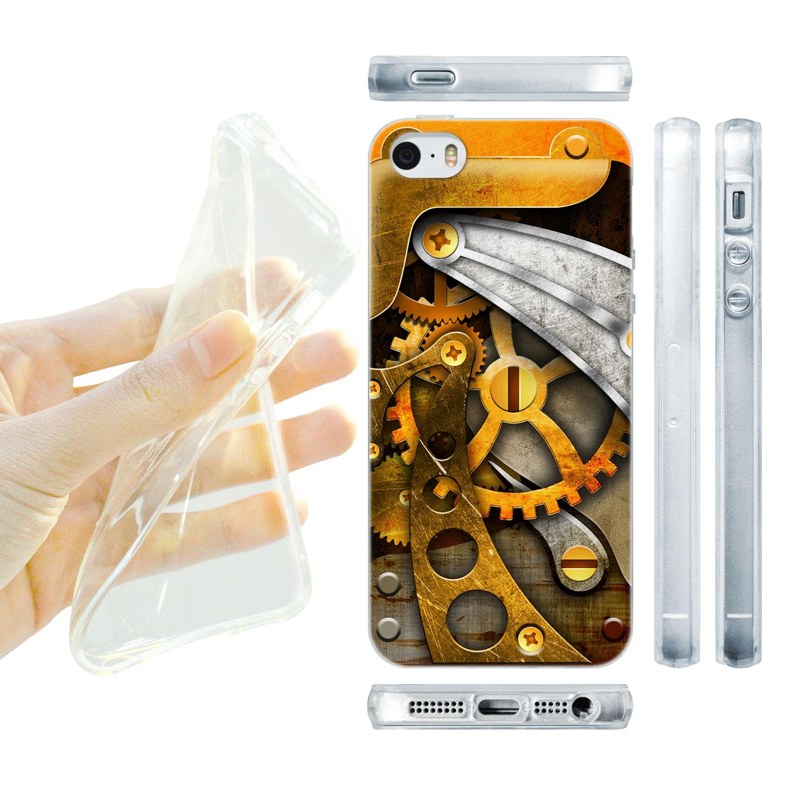 HEAD CASE silikonový obal na mobil Iphone 5/5S Vzor stroj kolečka zlatá barva