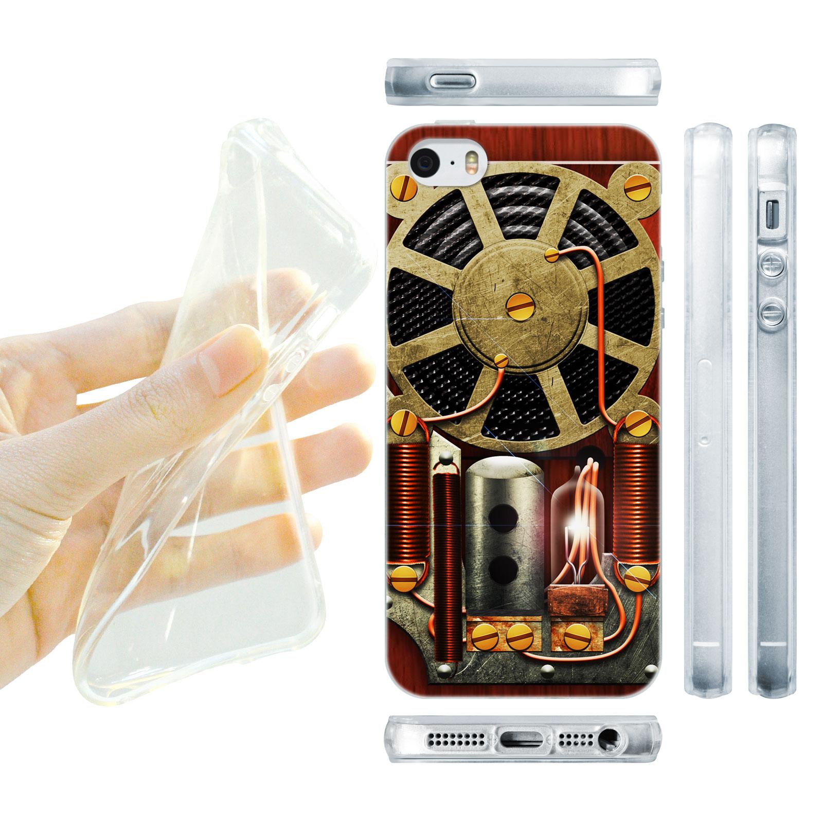 HEAD CASE silikonový obal na mobil Iphone 5/5S Vzor rádio uvnitř hnědá barva