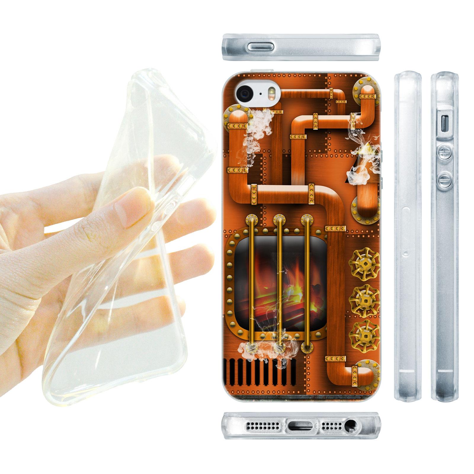 HEAD CASE silikonový obal na mobil Iphone 5/5S Vzor století páry hnědá