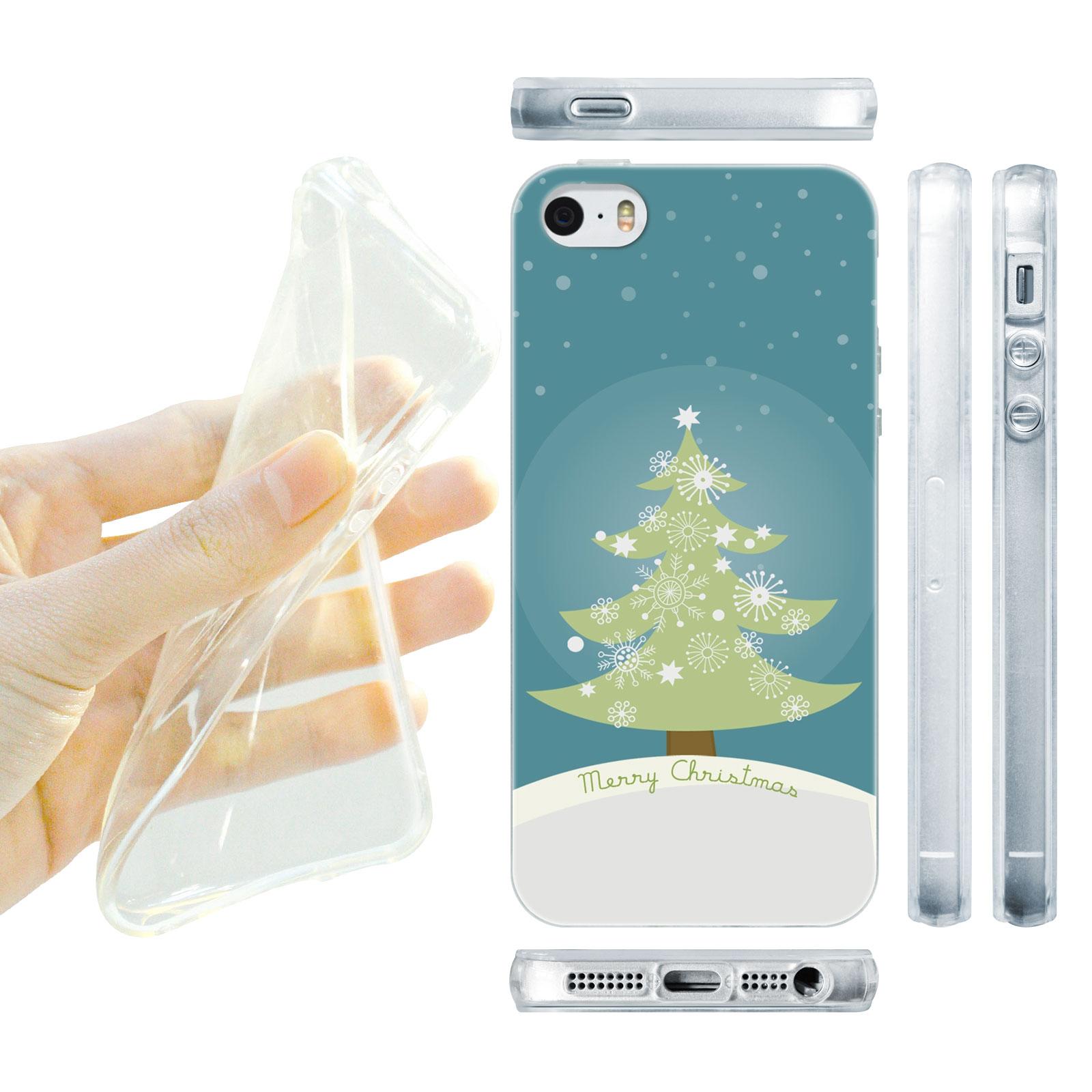 HEAD CASE silikonový obal na mobil Iphone 5/5S Vzor vánoce stromeček modrá barva