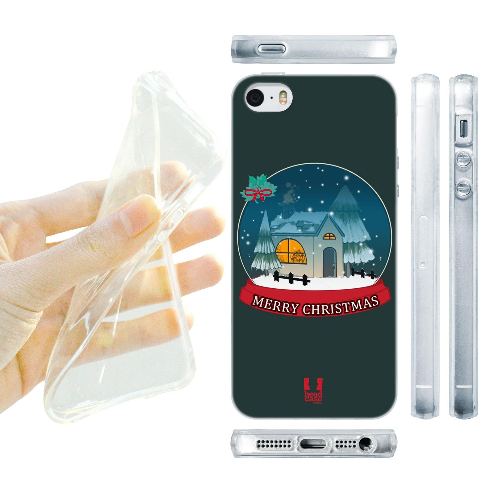 HEAD CASE silikonový obal na mobil Iphone 5/5S Vzor vánoce sněžná koule MERRY CHRISTMASS