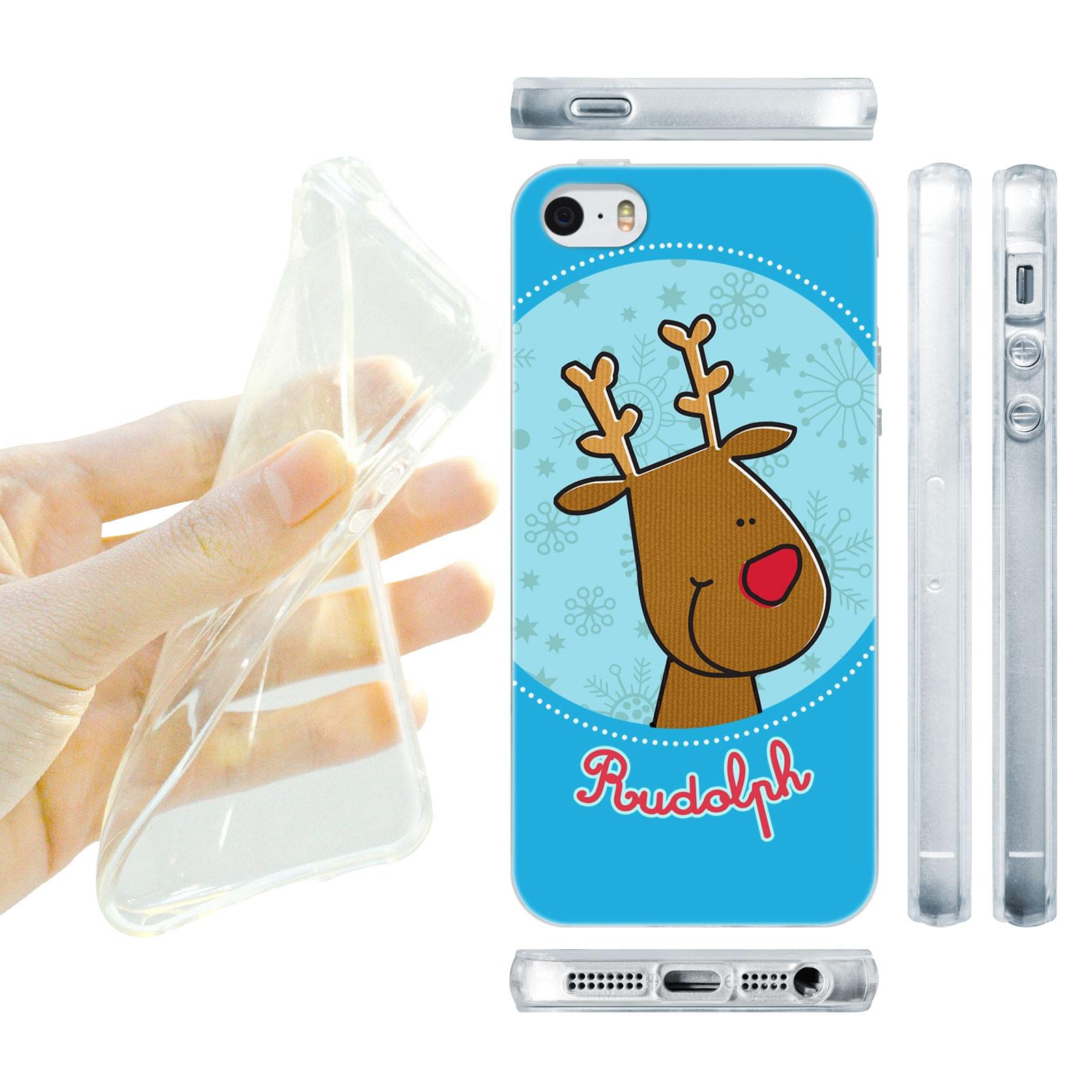 HEAD CASE silikonový obal na mobil Iphone 5/5S Vzor vánoce sob RUDOLF modrá barva