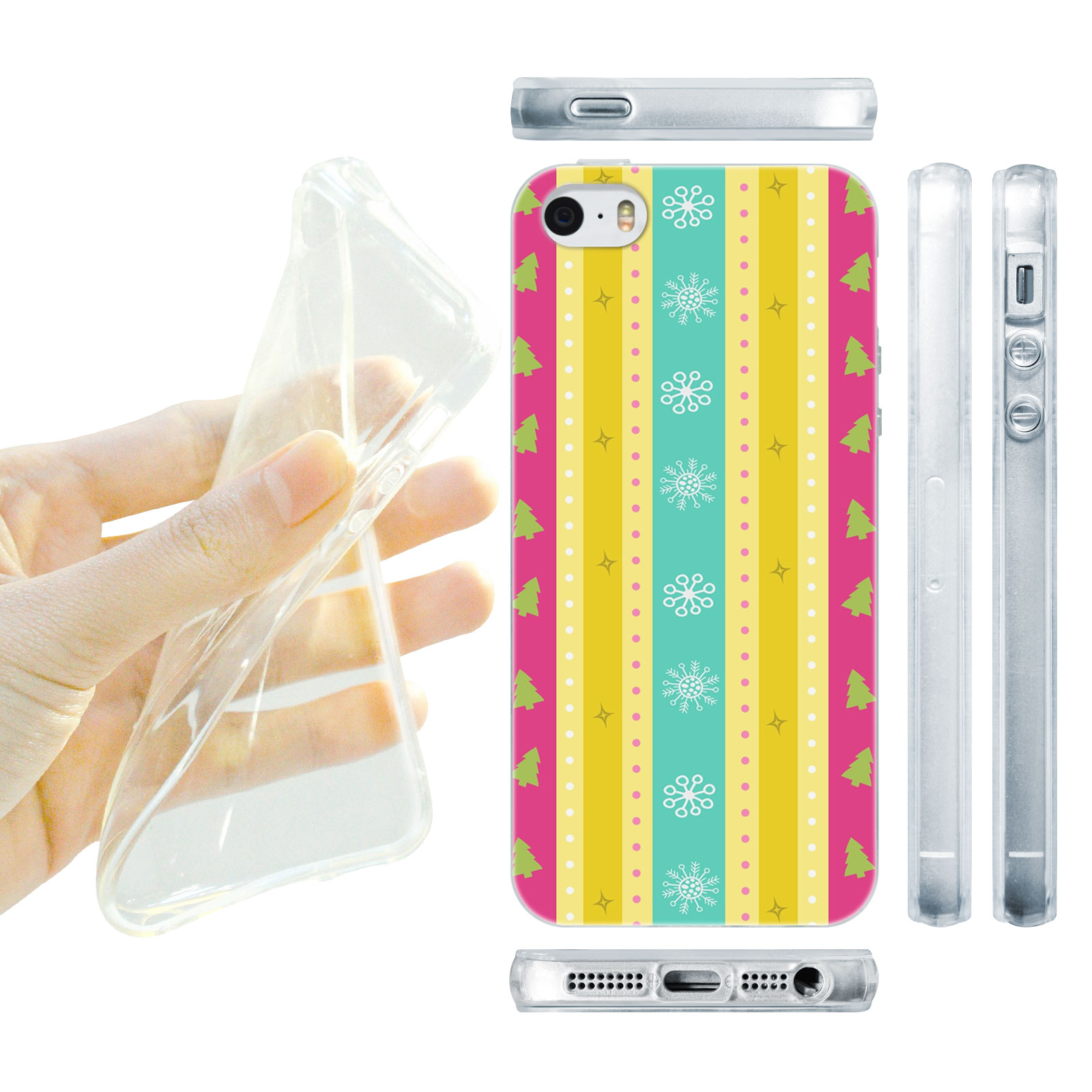 HEAD CASE silikonový obal na mobil Iphone 5/5S Vzor vánoce vánoční proužky růžová žlutá
