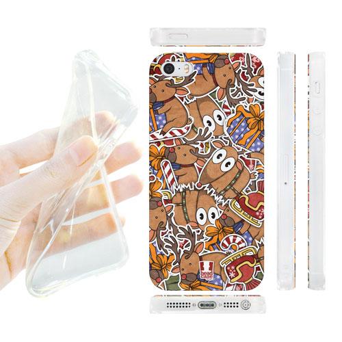 HEAD CASE silikonový obal na mobil Iphone 5/5S Vánoční vzor Sob Rudolf