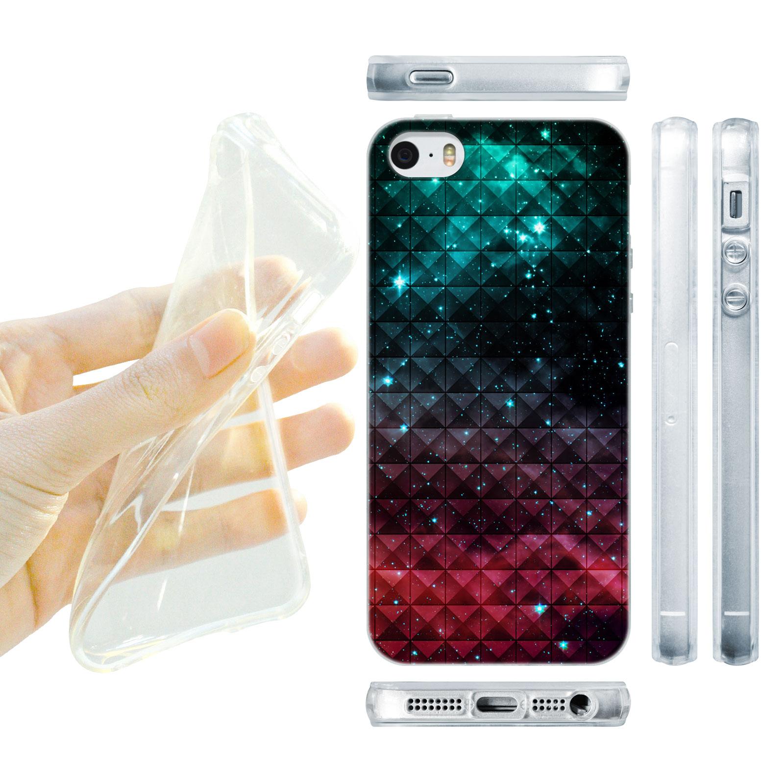 HEAD CASE silikonový obal na mobil Iphone 5/5S vzor vesmír modrá a červená hvězdy